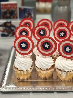 Excited to share this item from my shop: Super Hero Captain America Shield, Red White and Blue Cupcake Toppers Set of 12 Captain America Cupcakes, Captain America Party, Captain America Shield, Captain America Birthday Cake, Capt America, Avengers Birthday, Superhero Birthday Party, 5th Birthday, Birthday Ideas