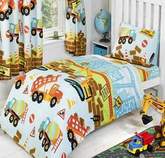 Under Construction, colourful toddler duvet set for boys.