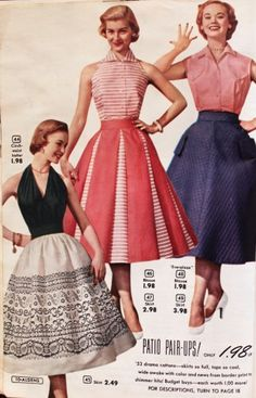 1950s Fashion vintage style full halter red white blue pink dress for Women: 1950s Circle Skirts  #1950sfashion