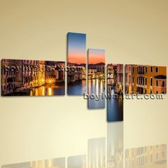 """Huge Framed Landscape Picture Italy Venice Canal Grande Canvas Print Wall Art Extra Large Wall Art, Gallery Wrapped, by Bo Yi Gallery 76""""x44"""". Huge Framed Landscape Picture Italy Venice Canal Grande Canvas Print Wall Art Subject : Italy Venice Style : Photography Panels : 5 Detail Size : 24""""x16""""x2,8""""x30""""x3 Overall Size : 76""""x44"""" = 193cm x 112cm Medium : Giclee Print On Canvas Condition : Brand New Frames : Gallery wrapped [FEATURES] Lightweight and easy to hang. High revolution giclee..."""