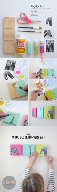 DIY Painted Wood Block Nursery Art This would be cool for any age Cuadros Diy, Diy Mod Podge, Diy And Crafts, Crafts For Kids, Wood Crafts, Creation Deco, Ideias Diy, Woodworking For Kids, Kids Wood