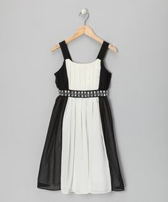 Take a look at this Black & White Rhinestone Occasion Dress - Girls by Bloome on #zulily today!