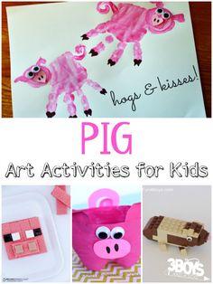 Pig Art Activities perfect for a farm unit for toddler, preschool, prek, kindergarten