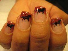 cute horse nail art, did it! Horse Nail Art, Horse Nails, Unicorn Nail Art, Animal Nail Art, Girls Nails, Pink Nails, Rodeo Nails, Cute Nails, Pretty Nails