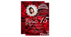 "Sweet 15. Red & Silver Quinceanera 15th Birthday Party Invitation. Elegant silver diamond tiara & swirls with red silk design. Click the ""Customize It"" button on the product page Zizzago created this design. PLEASE NOTE all images NOT Diamonds Jewels or real Bows!! Customize with your own details and age. Template for Sweet 16, 16th, Quinceanera 15th, 18th, 20th, 21st, 30th, 40th, 50th, 60th, 70th, 80th, 90, 100th,"