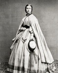 8 by 10 Civil War Photo Print Woman Lovely Dress, Cloak. Medici belt, nice hat 8 by 10 Civil War Photo Print Woman Lovely Dress, Cloak.