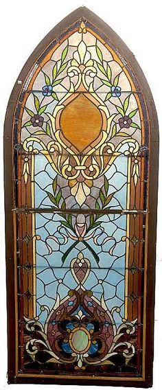 antique stained glass -- Isn't this one of the most beautiful Gothic Arch windows you've ever laid eyes on?!!! #StainedGlassChurch