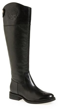 Vince Camuto 'Fabina' Knee High Boot (Women), An embossed logo lends understated elegance to a knee-high boot in rich mixed-finish leathers.