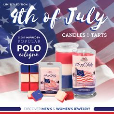 Can you believe it? July is almost here! Our Limited Edition triple-layered 4th of July candles and tarts available for one more week! Order yours today and be invigorated by Ralph Lauren's Polo fragrance. #4thofjuly #freedom #usa #jewelryincandles