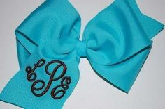 Embroidered Monogram Hair Bow Personalization by thesouthernbaby.  via Etsy.