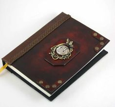 Fully functional miniature leather journal with cameo... Size 2.1 x 1.8 inches ~ around 300 tight sewn leaves (600 pages if count both side of paper) ~ carved and gilded paper edges ~ embossed leat...