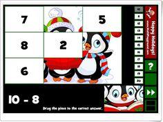 """""""Holiday puzzle subtraction facts to 20"""" (Restas de Navidad)"""