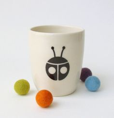 Kids Handmade Ceramic Cup/Tumbler  Ladybug by BOBOceramics on Etsy, $16.00