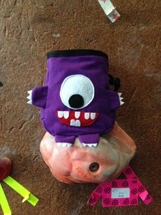 Purple Cyclops Monster Chalk Bag by ClovenHoofStudio on Etsy, $35.00
