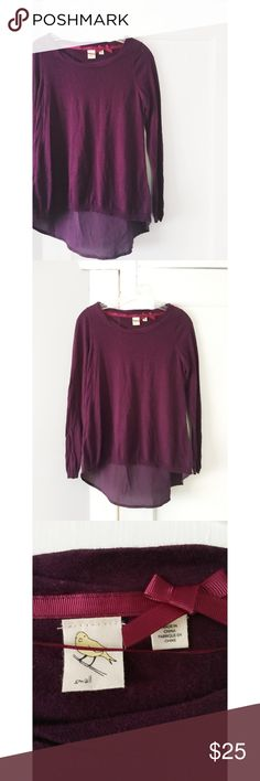 """Anthropologie """"Yellow Bird"""" Sweater Anthropologie """"Yellow Bird"""" Sweater. Maroon in color. Women's size small. Loose flowy fit. Great condition. Anthropologie Sweaters"""