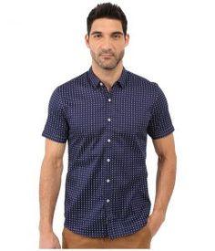 7 Diamonds Misty Morning Short Sleeve Shirt (Blue) Men's Short Sleeve Button Up