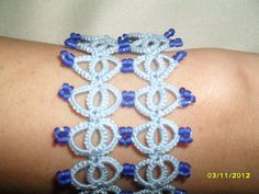 Tatting (Frivolite)  Bracelet - Tatted Blue Lace Bracelet by carmentatting on Etsy