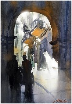 "Thomas W Schaller Very happy that my painting ""The Conversation - Girona"" has been accepted into the 2015-2016 Chinac/ National Watercolor Society Small Image Exchange Exhibition."