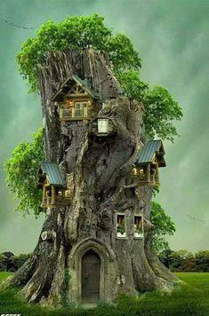 Fairy Tree Houses, Cool Tree Houses, Fairy Garden Houses, Gnome Garden, Fairy Gardens, Fairy Garden Furniture, Fantasy House, Fantasy Art, Gnome House