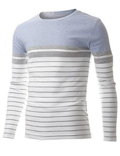 FLATSEVEN Men's Slim Fit Casual Two Tone Horizontal Striped Crew Neck Long Sleeve Tee Shirt (TRL3010) Blue, L FLATSEVEN http://www.amazon.com/dp/B00T4MYNZI/ref=cm_sw_r_pi_dp_JDl1ub04Q8VSW