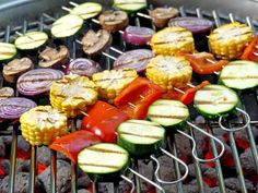 Recipe: Grilled Veggie Kabobs This heart-healthy side is perfect for your next barbecue. Grill the colorful, flavorful kabobs on skewers, or cook them in foil. Grilled Veggie Kabobs, Grilled Vegetable Recipes, Veggie Skewers, Grilled Vegetables, Grilling Recipes, Grilling Tips, Kebabs, Grilled Roast, Bbq Menu