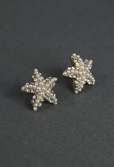 Crystal Pearl Beads Starfish Earrings - Retro, Indie and Unique Fashion