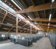stalls inside of Klagshamn's Equestrian Center