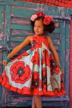 modeling a karmen halter style dress Ankara Styles For Kids, African Dresses For Kids, African Wear Dresses, African Children, African Attire, Girls Dresses, Poppy Dress, For Elise, Girls World