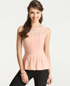 myneverendinglacelove  #Lace Yoke Silk Top - Ann Taylor