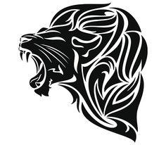 Black lion head tattoo
