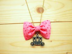 Bow Necklace, Pink polka dot, Carriage <3