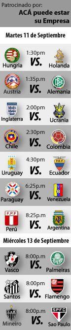 Fútbol recomendado hoy:      Hungria - Holanda      Inglaterra - Ucrania      Chile - Colombia      Uruguay - Ecuador  ...  http://blogueabanana.com/deportes/91-futbol/741-futbol-recomendado-11-al-12-de-septiembre.html