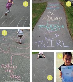 Sidewalk Chalk Ideas For Kids Fun active outdoor games and activities for summer Outside Activities For Kids, Outdoor Activities For Kids, Outdoor Learning, Toddler Activities, Fun Activities, Outdoor Fun For Kids, Outdoor Play, Outdoor Games For Children, Fun Outside Games