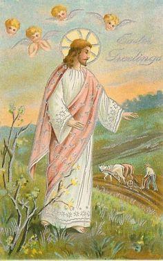 Vintage Postcard Lot Easter Religious Jesus Lambs Cross Lilies Color Embossed #Easter