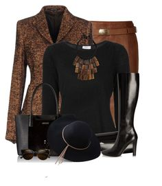 """Brown and Black"" by daiscat ❤ liked on Polyvore featuring Polo Ralph Lauren, Tagliatore, Frame, Yves Saint Laurent, Calvin Klein, Nest, ZeroUV and LULUS"