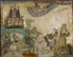 of stumpwork in the Green Room. It depicts an eastern scene, with a robed and turbanned man, a Temple(?) and a flying angel. Property Name Mompesson House NTPL Ref. Embroidery Art, Embroidery Patterns, Textile Tapestry, Tapestries, Lace Beadwork, Angel Crafts, Crochet Wool, Green Rooms, Gold Work