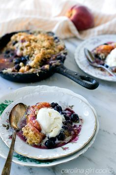 Peach & Blueberry Crumble with Lavender Tea Cookie Topping