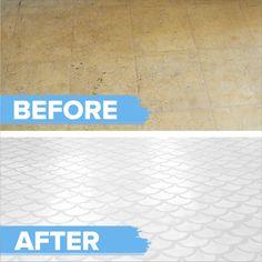 Budget-friendly vinyl floor makeover - home diy remodeling Painting Linoleum Floors, Painted Vinyl Floors, Linoleum Flooring, Diy Flooring, Kitchen Flooring, Clean Vinyl Floors, Painted Floor Tiles, Painting Bathroom Tiles, Kitchen Counters