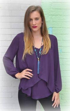 Deep Purple Blouse #SophieandMollies #Purple #ChapelHill #Apex #boutique #shop #blouse #fall #2015