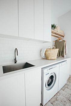 Kyal and Kara's Central Coast Australia home renovation – GetInMyHome Laundry Decor, Laundry Room Design, Laundry In Bathroom, Laundry Cupboard, Laundry Hanger, Laundry Cabinets, Modern Laundry Rooms, Laundry Closet, Bathroom Basin