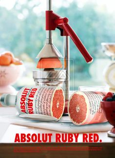Absolut Ruby Red vodka, great when paired with grapefruit juice, one of my favs!