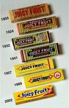 Juicy Fruit Packaging from to inspiration chewing gum from the storeroom @ POTW Retro Packaging, Fruit Packaging, Packaging Design, Branding Design, Retro Candy, Vintage Candy, Vintage Menu, 80s Candy, Vintage Food