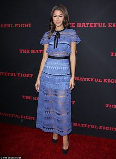 Chic: Zendaya hit the red carpet for Monday night's The Hateful Eight premiere wearing a V...