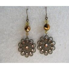 """""""Bronze Crystal Filigree"""": Rondelles top this bronze flower disk spotted with Swarovski crystals.   2"""" length   $42"""