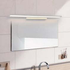 Interior Deluxe Stick LED Wall Lamp | Interior-Deluxe.com Bathroom Mirror Lights, Mirror With Led Lights, Mirror Lamp, Modern Wall Lights, Led Wall Lamp, Led Mirror, Bathroom Light Fixtures, Modern Lighting, Bathroom Lighting