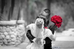 Spot Color bride's bouquet