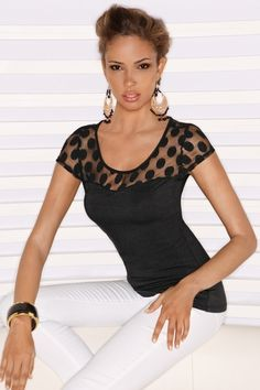 Cap sleeve lace polka dot top in Vacation 2013 from Boston Proper on shop.CatalogSpree.com, my personal digital mall.