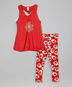 Love this Red Daisy Bubble Tunic & Leggings by Forever Princess on #zulily! #zulilyfinds