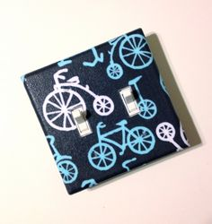 Double Toggle Bike Light Switch Plate Cover / Kids Room / Baby Nursery  / Blue, White, and Gray Bicycles / Its a Boy Thing Michael Miller