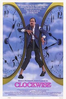 Clockwise   1986 British comedy film starring John Cleese, Penelope Wilton, Alison Steadman, Stephen Moore and Sharon Maiden. It was directed by Christopher Morahan, written by Michael Frayn and produced by Michael Codron. The film was co-produced by Moment Films and Thorn EMI Screen Entertainment. The music in the film was composed by George Fenton.
